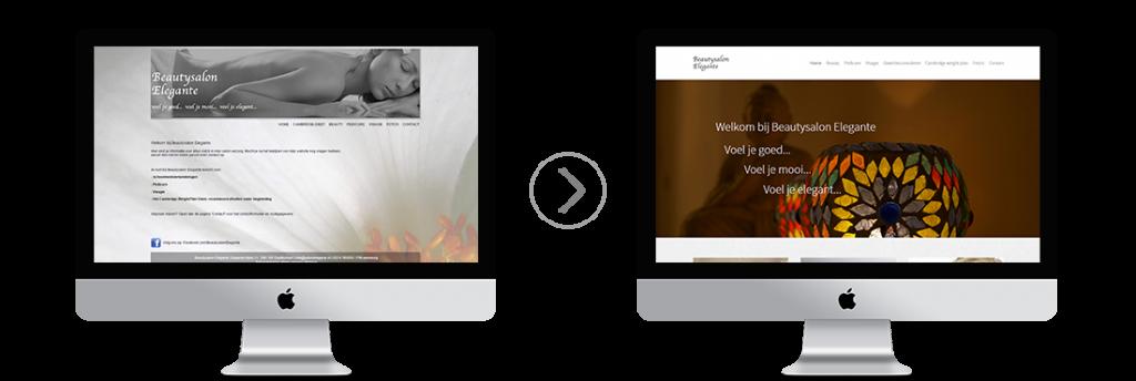 Voor en na vernieuwing website Beautysalon Elegante