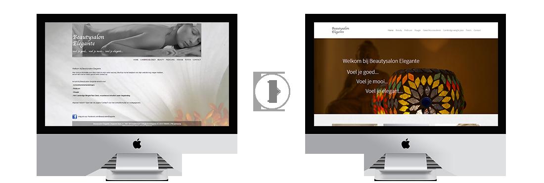 Voor en na vernieuwing van de website van Beautysalon Elegante