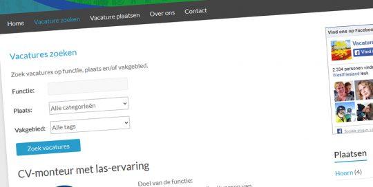 Website van Vacatures in West-Friesland